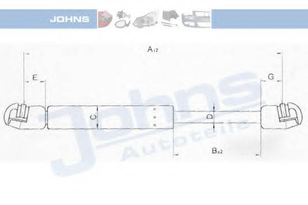 JOHNS 55059593 Газовая пружина, крышка багажник