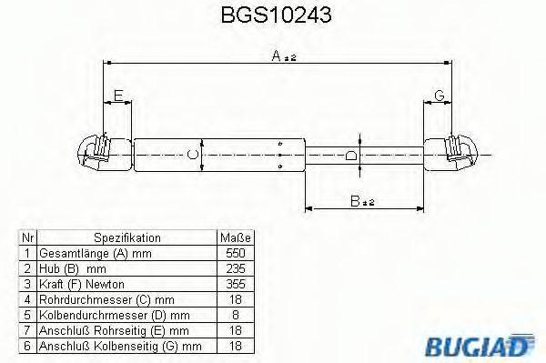 BUGIAD BGS10243 Газовая пружина, крышка багажник