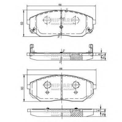 Комплект тормозных колодок, дисковый тормоз NIPPARTS J3600318