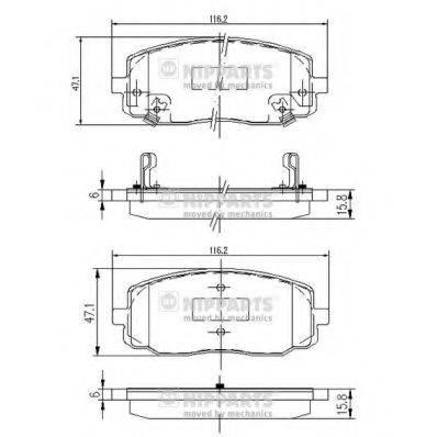 Комплект тормозных колодок, дисковый тормоз NIPPARTS J3600323