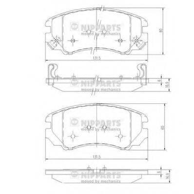 Комплект тормозных колодок, дисковый тормоз NIPPARTS J3600541