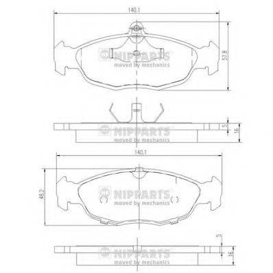 Комплект тормозных колодок, дисковый тормоз NIPPARTS J3600901