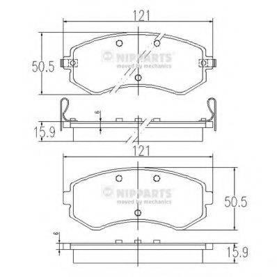 Комплект тормозных колодок, дисковый тормоз NIPPARTS J3601060