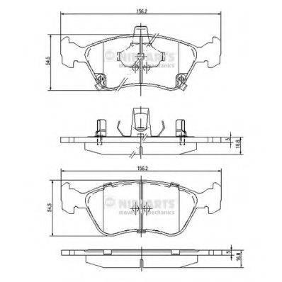 Комплект тормозных колодок, дисковый тормоз NIPPARTS J3602080
