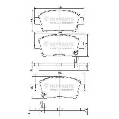 Комплект тормозных колодок, дисковый тормоз NIPPARTS J3602088
