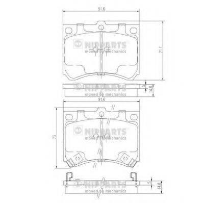 Комплект тормозных колодок, дисковый тормоз NIPPARTS J3603035