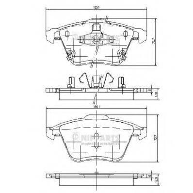 Комплект тормозных колодок, дисковый тормоз NIPPARTS J3603067
