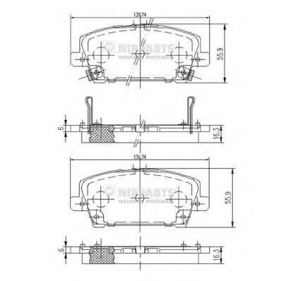Комплект тормозных колодок, дисковый тормоз NIPPARTS J3604065