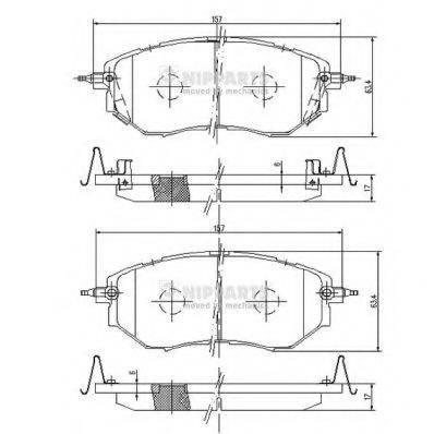 Комплект тормозных колодок, дисковый тормоз NIPPARTS J3607019