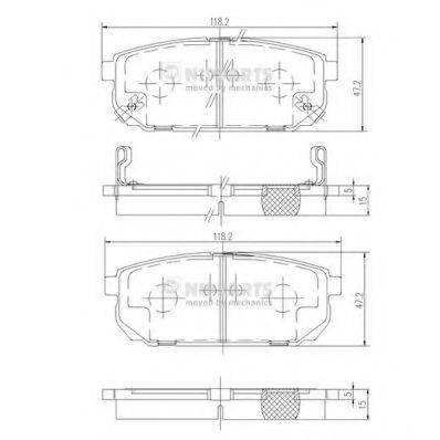 Комплект тормозных колодок, дисковый тормоз NIPPARTS J3610305