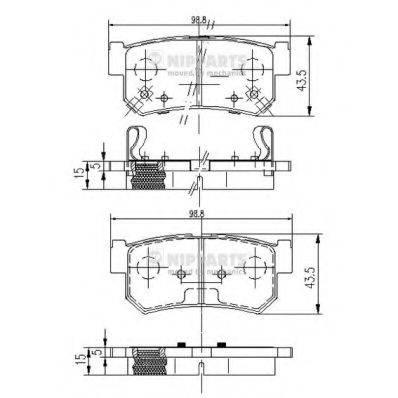 Комплект тормозных колодок, дисковый тормоз NIPPARTS J3610401