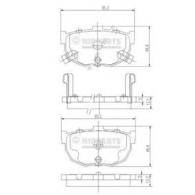 Комплект тормозных колодок, дисковый тормоз NIPPARTS J3610505
