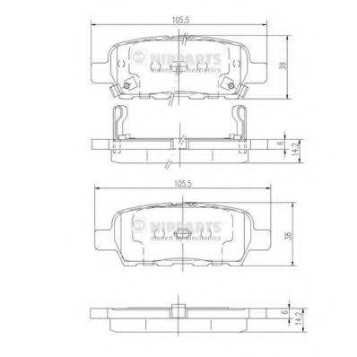Комплект тормозных колодок, дисковый тормоз NIPPARTS J3611044