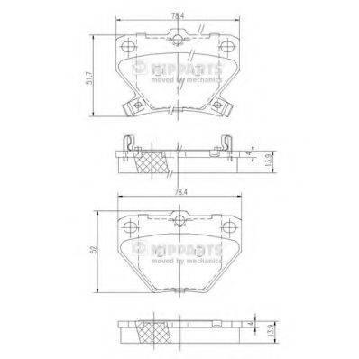 Комплект тормозных колодок, дисковый тормоз NIPPARTS J3612018