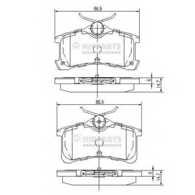 Комплект тормозных колодок, дисковый тормоз NIPPARTS J3612026