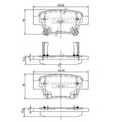 Комплект тормозных колодок, дисковый тормоз NIPPARTS J3612030