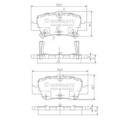 Комплект тормозных колодок, дисковый тормоз NIPPARTS J3612033