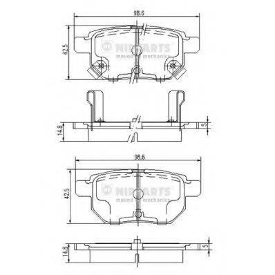 Комплект тормозных колодок, дисковый тормоз NIPPARTS J3612034