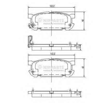 Комплект тормозных колодок, дисковый тормоз NIPPARTS J3613020