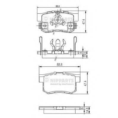 Комплект тормозных колодок, дисковый тормоз NIPPARTS J3614017
