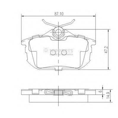 Комплект тормозных колодок, дисковый тормоз NIPPARTS J3615012