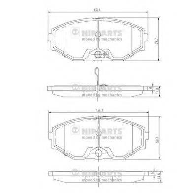 Комплект тормозных колодок, дисковый тормоз NIPPARTS J3601074