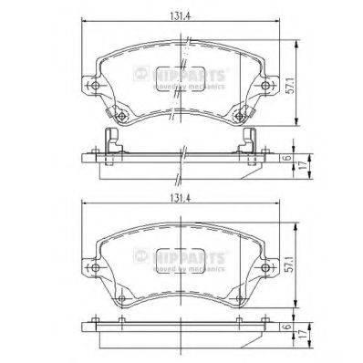 Комплект тормозных колодок, дисковый тормоз NIPPARTS J3602101
