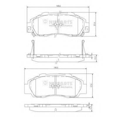 Комплект тормозных колодок, дисковый тормоз NIPPARTS J3604032