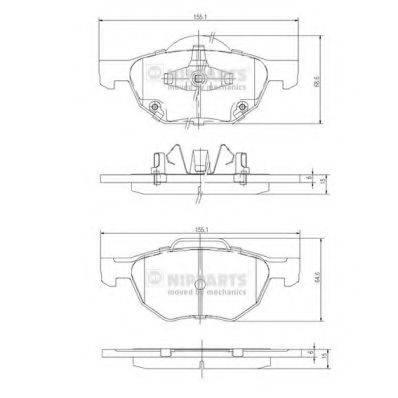 Комплект тормозных колодок, дисковый тормоз NIPPARTS J3604064