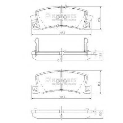 Комплект тормозных колодок, дисковый тормоз NIPPARTS J3612013