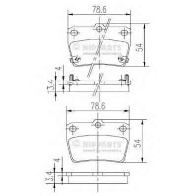 Комплект тормозных колодок, дисковый тормоз NIPPARTS J3612020