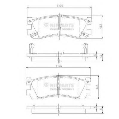 Комплект тормозных колодок, дисковый тормоз NIPPARTS J3613005