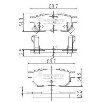 Комплект тормозных колодок, дисковый тормоз NIPPARTS J3614004