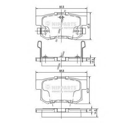 Комплект тормозных колодок, дисковый тормоз NIPPARTS J3614008