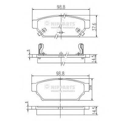 Комплект тормозных колодок, дисковый тормоз NIPPARTS J3615004