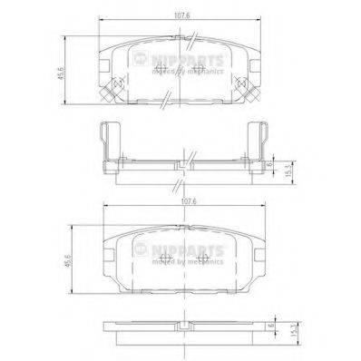 Комплект тормозных колодок, дисковый тормоз NIPPARTS J3615007