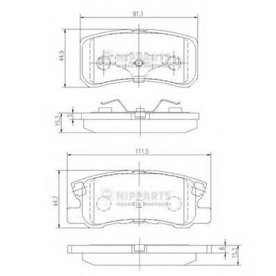 Комплект тормозных колодок, дисковый тормоз NIPPARTS J3615010