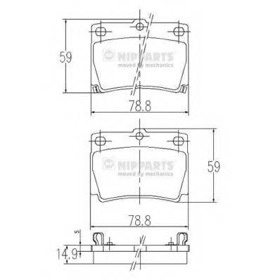 Комплект тормозных колодок, дисковый тормоз NIPPARTS J3615011