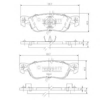 Комплект тормозных колодок, дисковый тормоз NIPPARTS J3619000