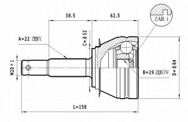 STATIM C006 Шарнирный комплект, приводной вал