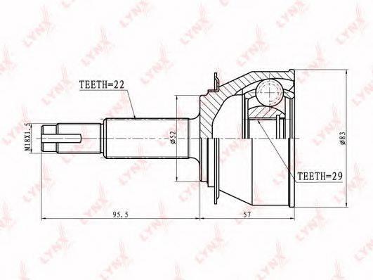 LYNXAUTO CO1803 Шарнирный комплект, приводной вал